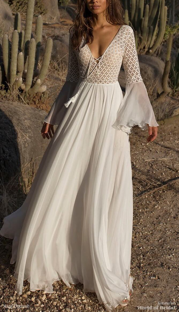 White Bell Sleeve Lace Up Maxi Long Dress