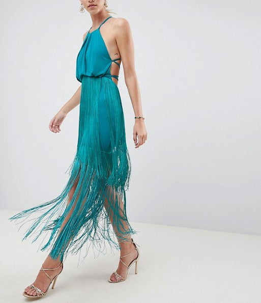Teal Strap Cross Back With Tasseled Dress