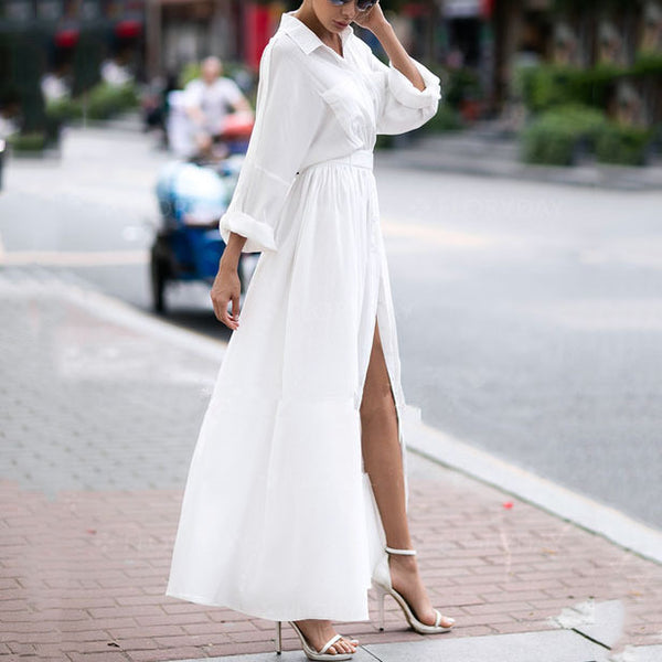 White Button Up With Belt Maxi Long Dress