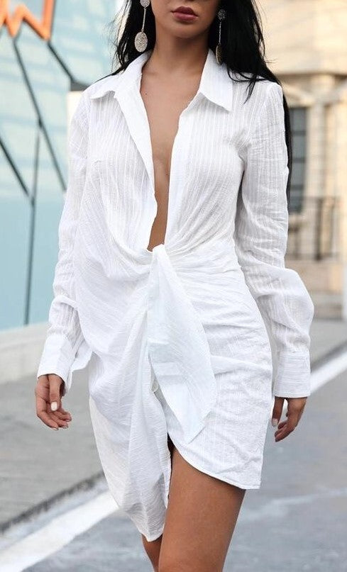 White Tie Up Front Shirt Dress