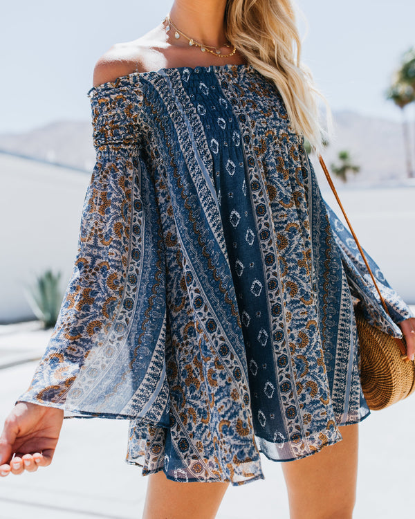 Pattern Print Off the Shoulder with Bell Sleeve Short Dress