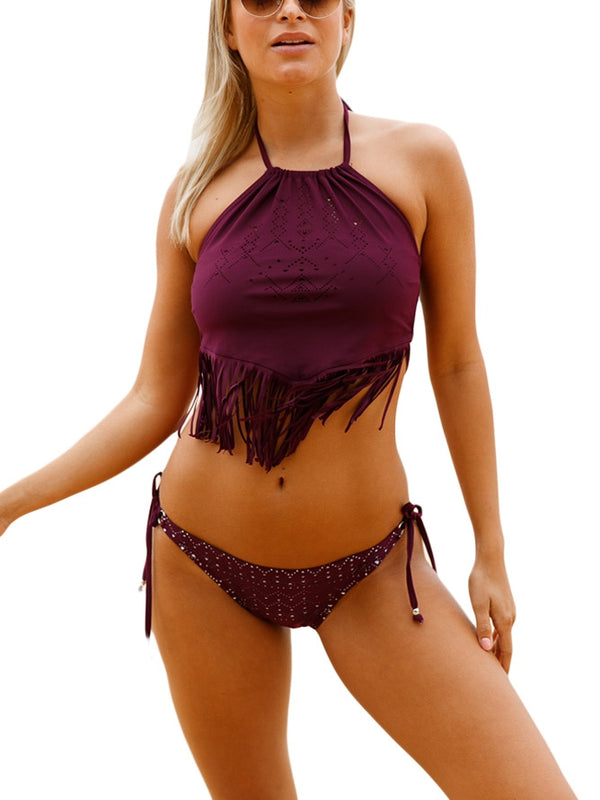 Wine Fringed Beaded Tankini Swim Set