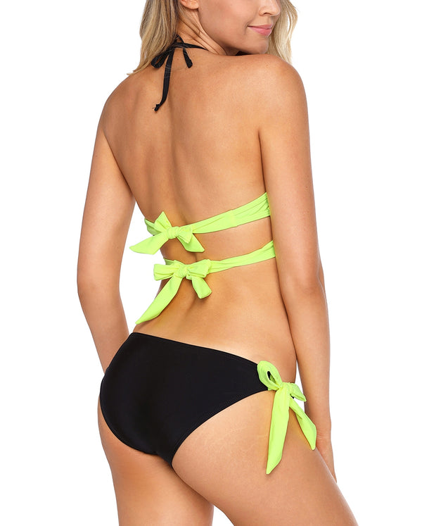 Bright Yellow Wrap Front Halter Bikini Tie Side Bottom Swimsuit