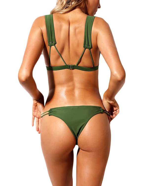 Army Green Roped Up Skimpy Two Pieces Swimsuit