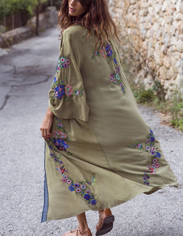 Embroidered Green Beachfront Cover Up