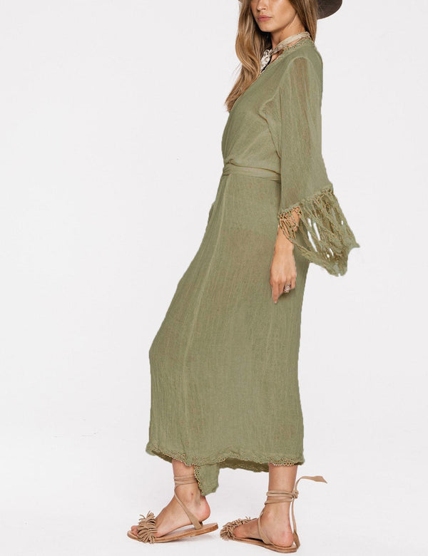 Wrap Style with Tassel Sleeve Cover Up