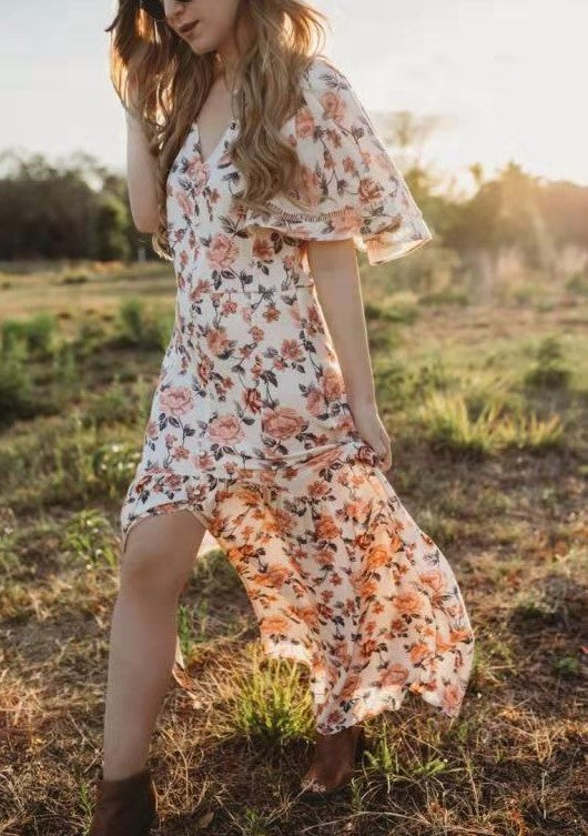 Floral Printed Fala Sleeve Long Dress