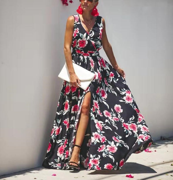 Floral Printed Wrapped Style Long Dress