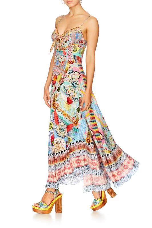 Multi Shape Print Cut off Mid Bow Long Dress