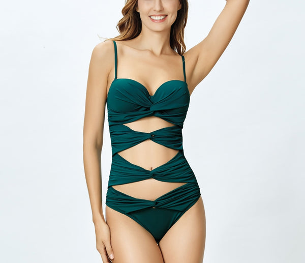 Lace Up One Piece Swimwear
