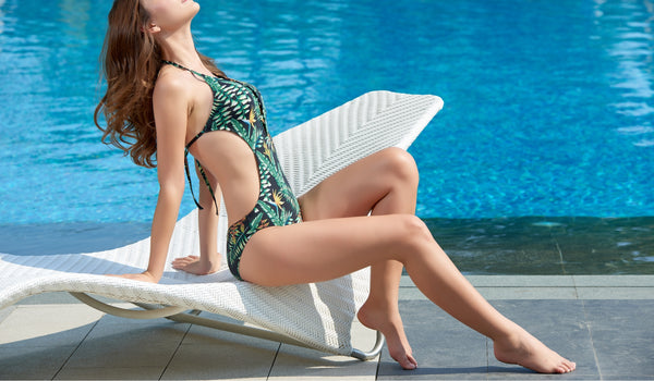 Green Floral Printed One Piece Swimwear