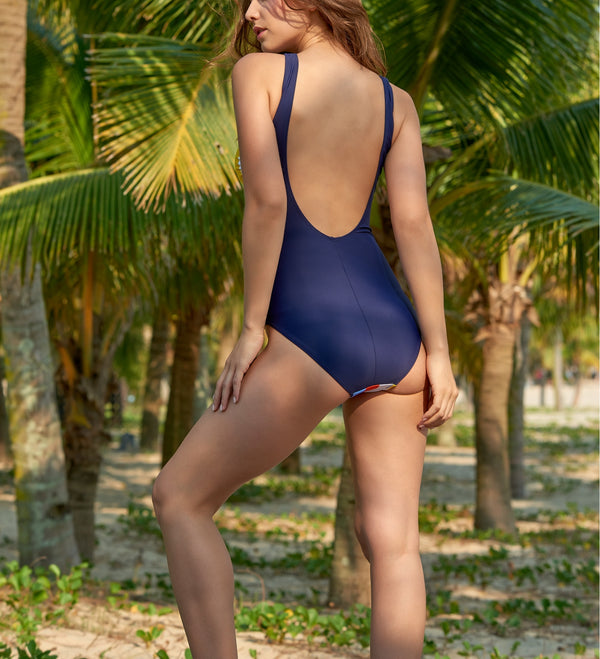 Multi Color Striped Navy Back One Piece Swimwear