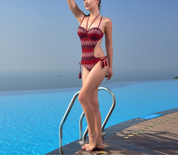 Wave Print One Piece Swimwear