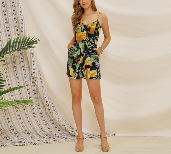Rain Forest Printed Short Jumpsuit