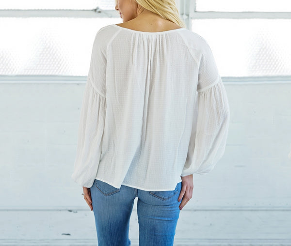 White Puffy Long Sleeve Top