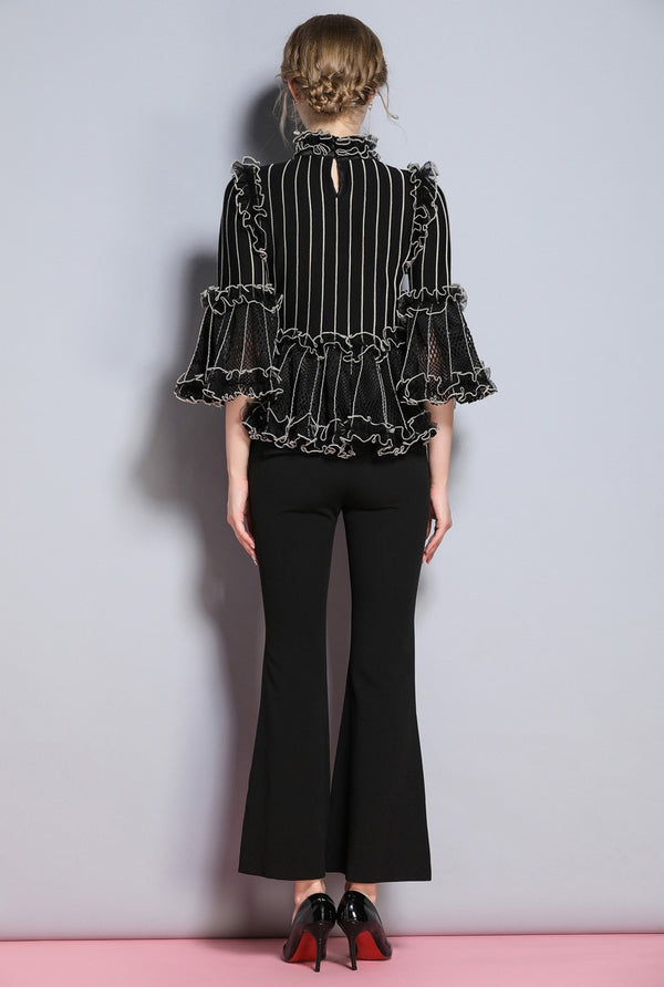 White Striped on Black with Bell Sleeve Blouse