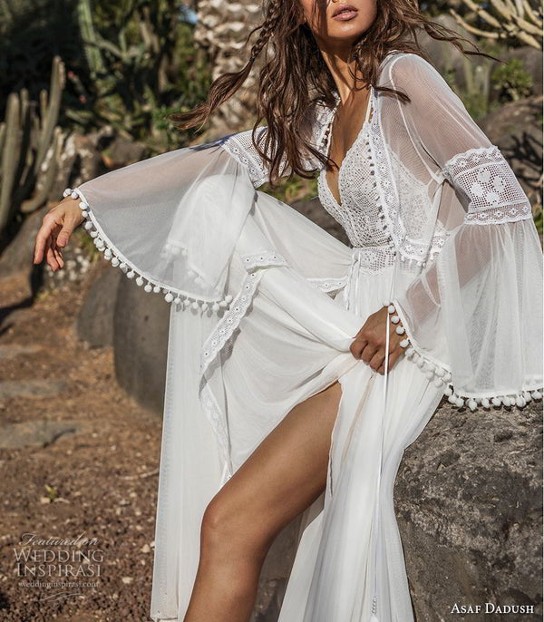 Two Way Wear White Lace Maxi Long Dress