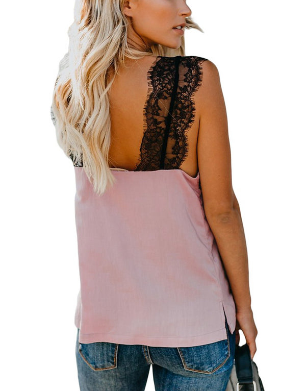 Pink One More Night Lace Cami Tank