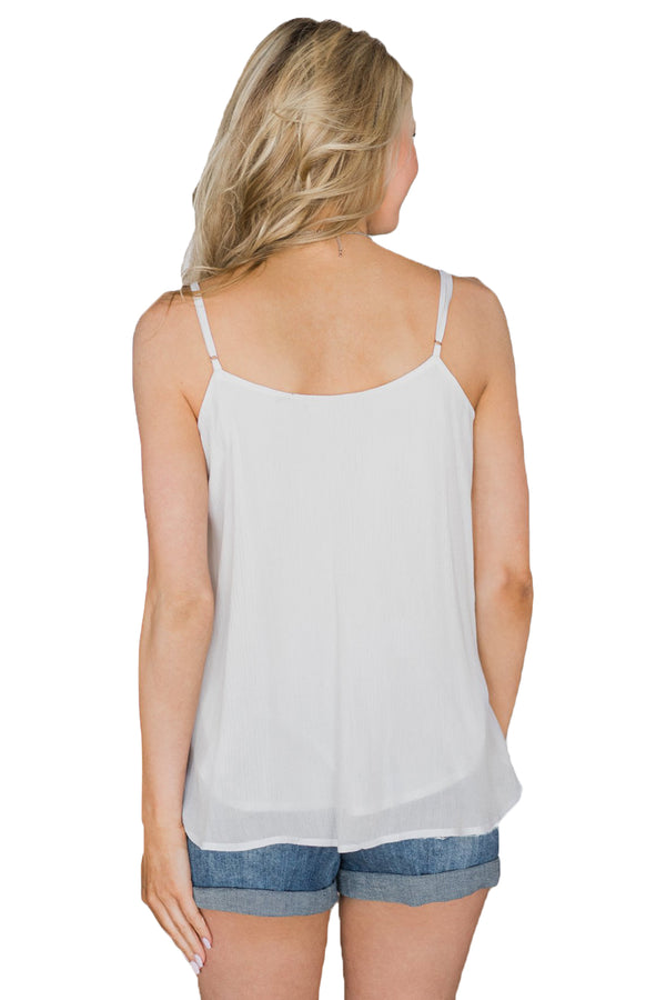 White Button Down V Neck Camisole Vest Top