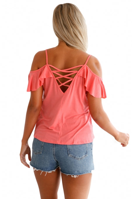 Pink Crisscross Back Ruffle Cold Shoulder Top