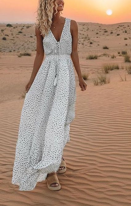 Lace Up Front Dot Print Long Dress