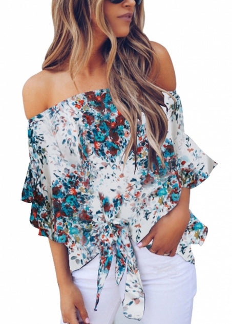 White Off Shoulder Floral Tie Front High Low Chiffon Blouse