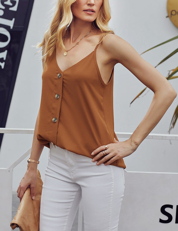 Brown Spaghetti Strap Buttoned Tank Top