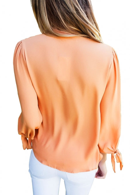 Orange Bow-tie Sleeved Blouse with Necktie