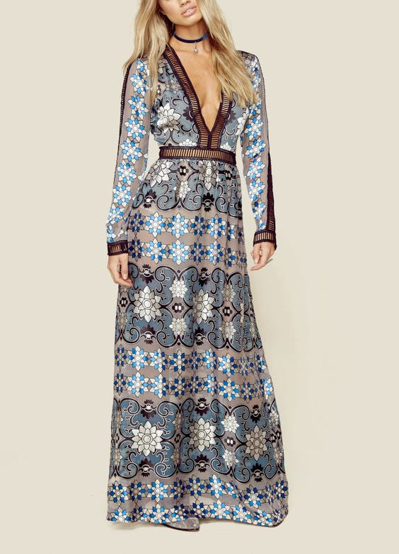 Pattern Print of Elegance Deep V Maxi Long Dress