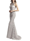 Trumpet Jewel Neck  / Tulle Beautiful Back Formal Evening Dress with Beading / Sequin