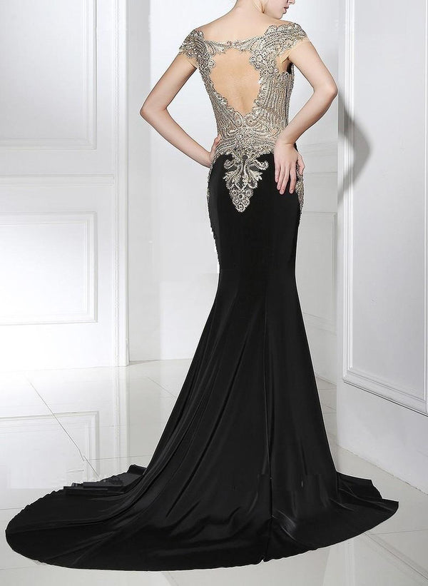 Jewel Neck Sweep / Appliques And Shine Formal Evening Dress with Crystals