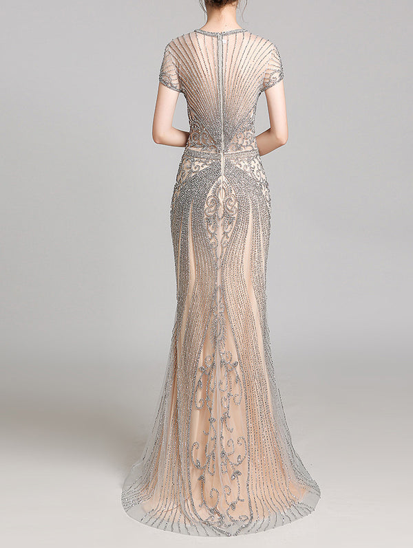 Silver Beaded fitted gown