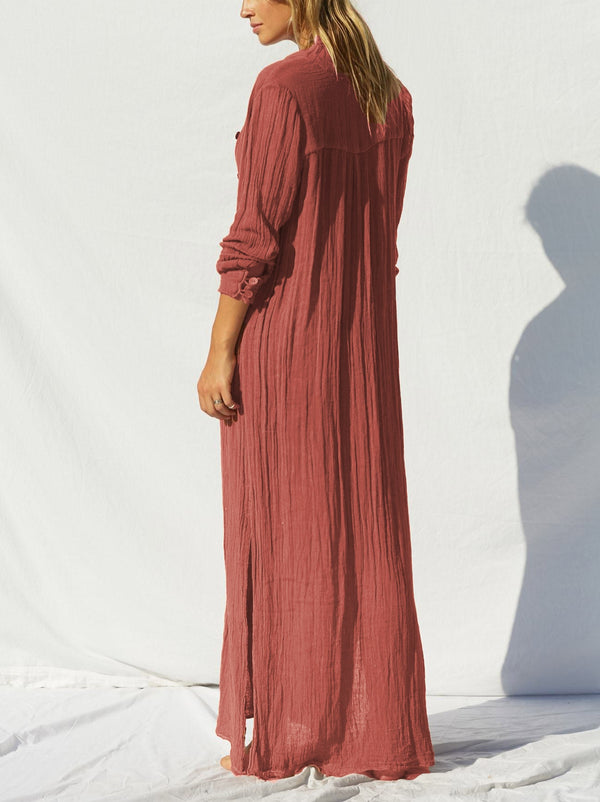 Relaxed Button Up Long Dress