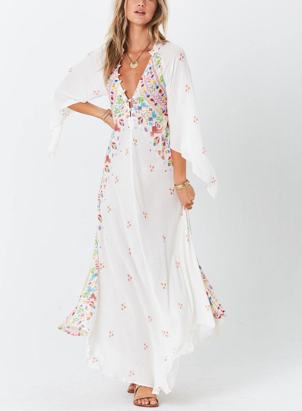 Chiffon With Pattern Print Maxi Long Dress