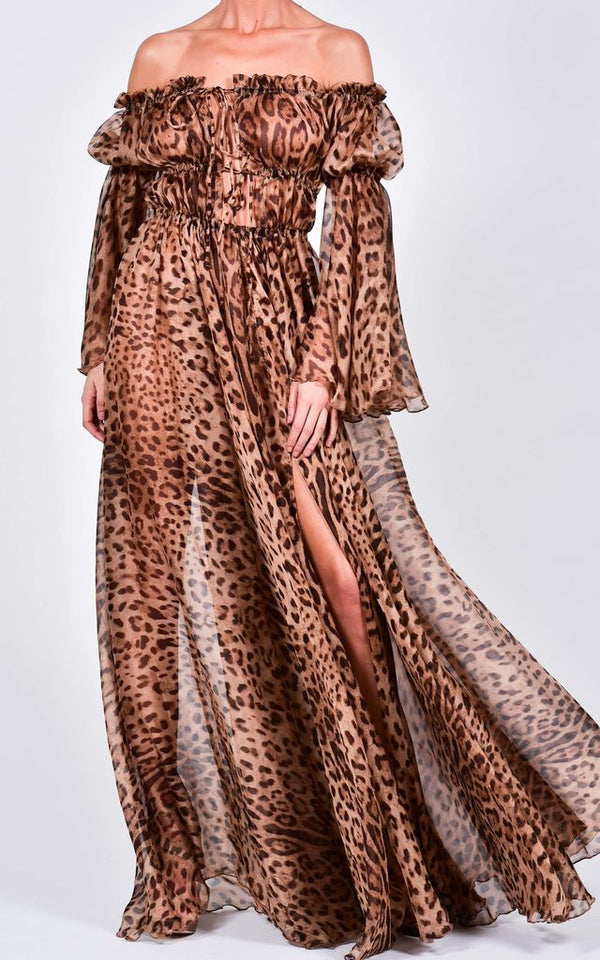 Leopard Print Off the Shoulder with Bell Sleeve Maxi Long Dress