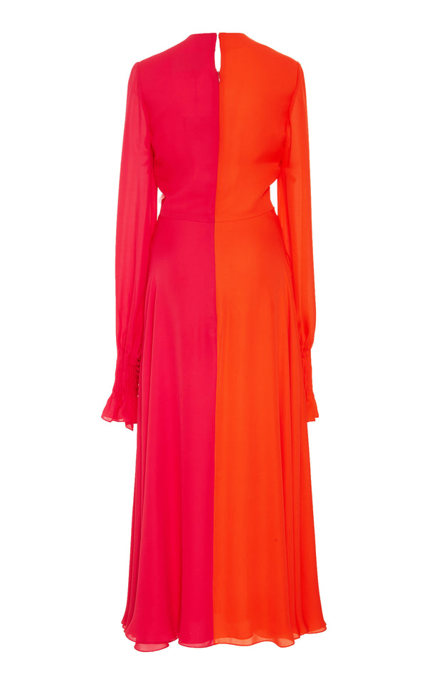 Two Color Tone Knock Front Maxi Long Dress