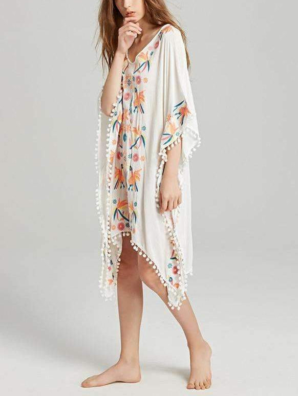 White Embroidered Bat Sleeve Midi Dress
