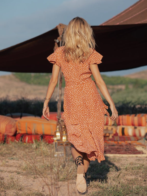 Fala Dot Print High Low Style Long Dress