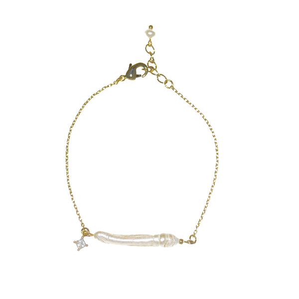 Gold Color Single Long Freshwater Pearl Bracelet