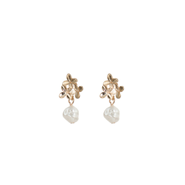 Three Flowers & Faux Pearl Earrings