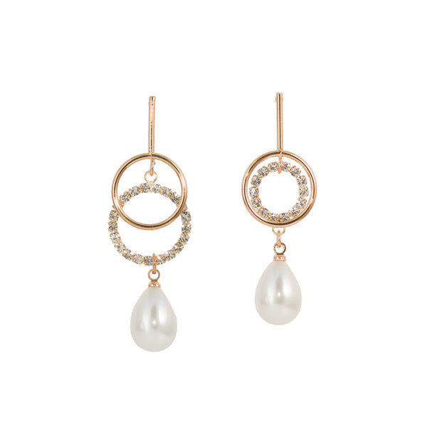 Cubic Zirconia & Faux Pearl Earrings