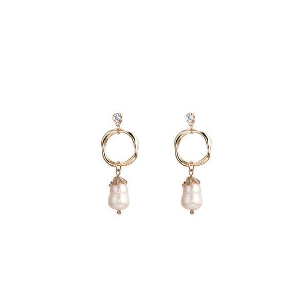 Freshwater Pearl & Cubic Zirconia Earrings