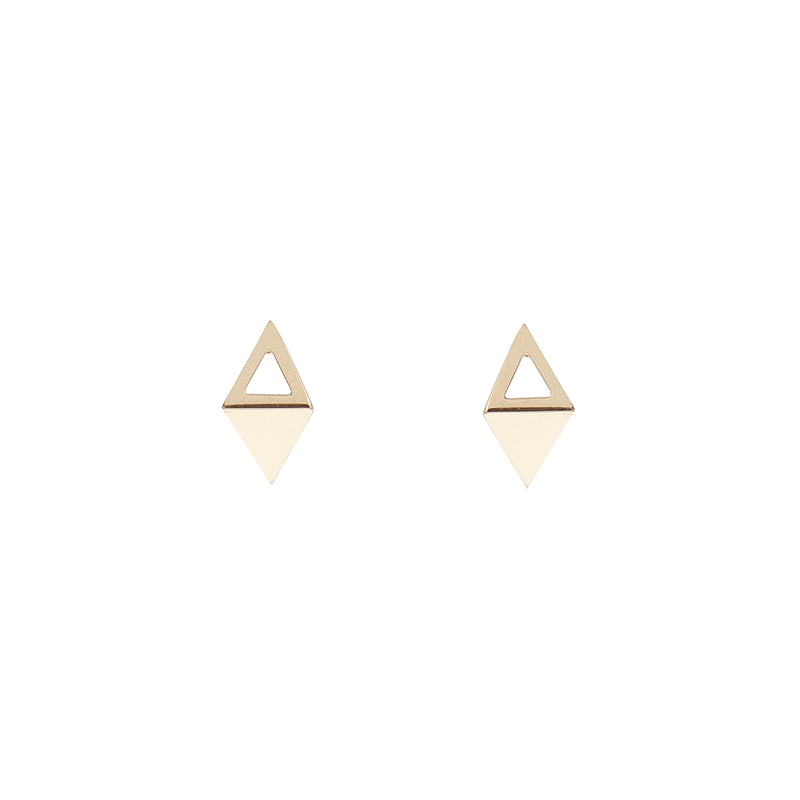 Gold Joined Triangle Earrings (14K Gold)