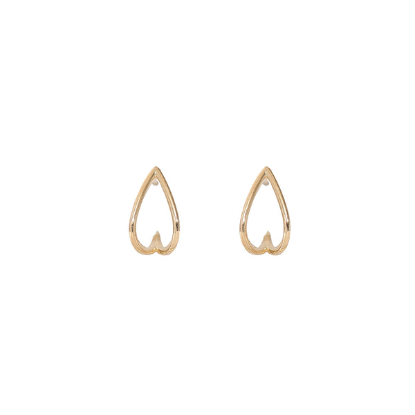Wire Frame Tear Drop Earrings (14K Gold)