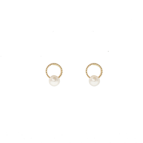 Gold Ring w/ Faux Pearl Earrings (10K Gold)