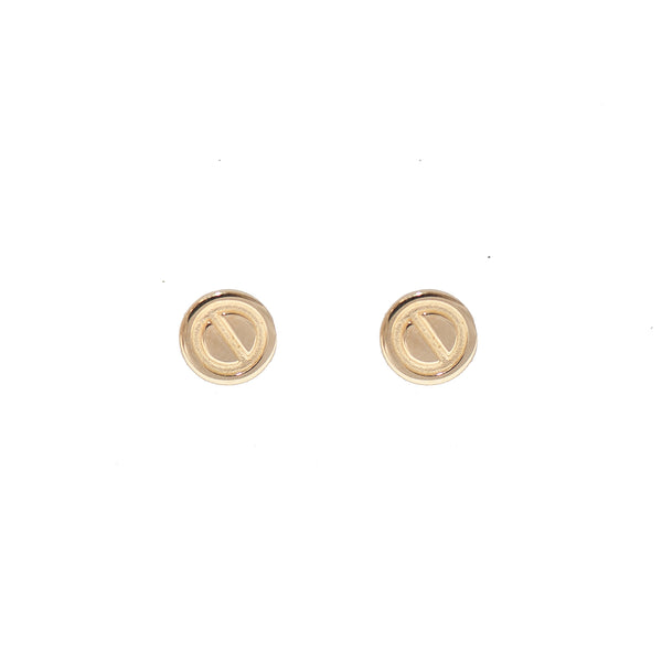 Gold Button Earrings (14K Gold)