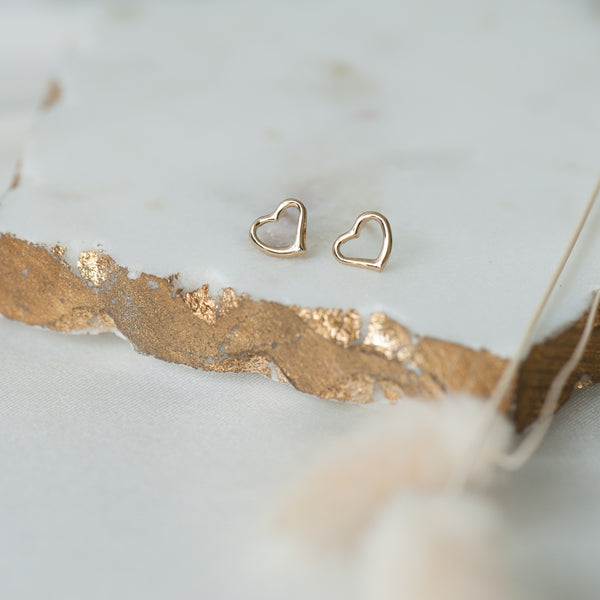 Gold Heart Earrings (14K Gold)