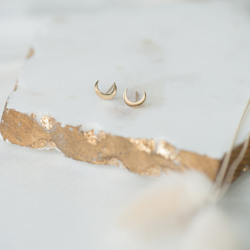 Golden Crescent Moon Studs (10K Gold)