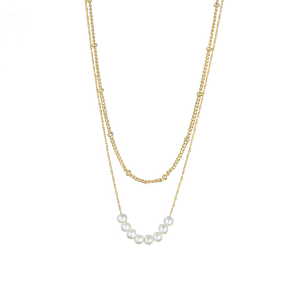 8 Faux Pearls Double Necklace