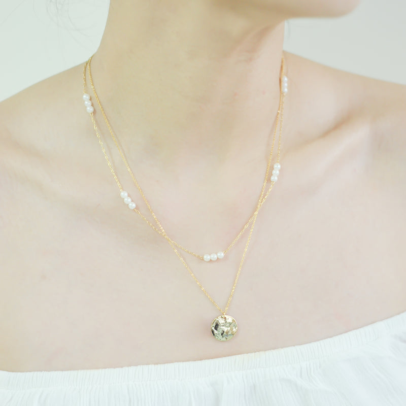 Coin Medallion on Double Necklace with 18 Petite Faux Pearls.